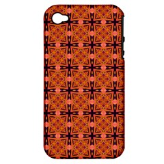 Peach Purple Abstract Moroccan Lattice Quilt Apple Iphone 4/4s Hardshell Case (pc+silicone) by DianeClancy