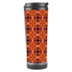 Peach Purple Abstract Moroccan Lattice Quilt Travel Tumblers by DianeClancy