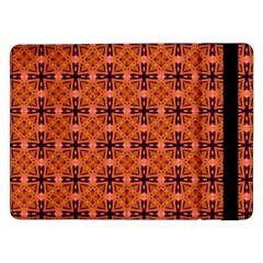 Peach Purple Abstract Moroccan Lattice Quilt Samsung Galaxy Tab Pro 12 2  Flip Case by DianeClancy