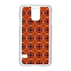 Peach Purple Abstract Moroccan Lattice Quilt Samsung Galaxy S5 Case (white) by DianeClancy