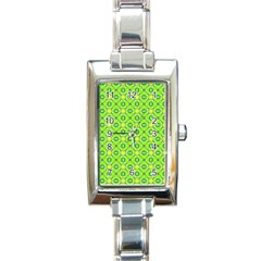 Vibrant Abstract Tropical Lime Foliage Lattice Rectangle Italian Charm Watch by DianeClancy