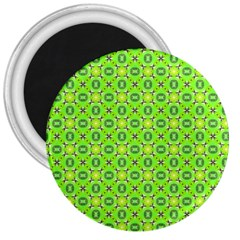 Vibrant Abstract Tropical Lime Foliage Lattice 3  Magnets by DianeClancy