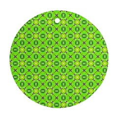 Vibrant Abstract Tropical Lime Foliage Lattice Ornament (round)  by DianeClancy
