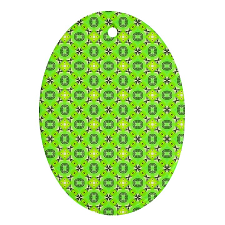 Vibrant Abstract Tropical Lime Foliage Lattice Ornament (Oval)