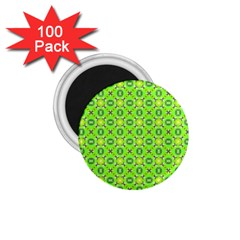 Vibrant Abstract Tropical Lime Foliage Lattice 1 75  Magnets (100 Pack)  by DianeClancy
