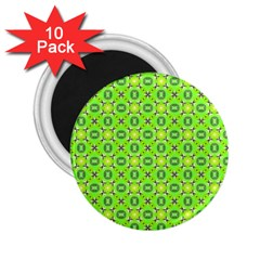 Vibrant Abstract Tropical Lime Foliage Lattice 2 25  Magnets (10 Pack)  by DianeClancy
