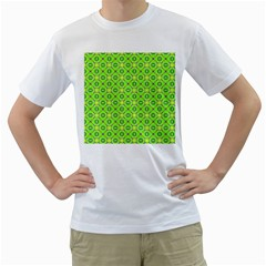 Vibrant Abstract Tropical Lime Foliage Lattice Men s T Shirt (white) (two Sided) by DianeClancy
