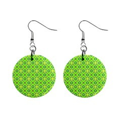 Vibrant Abstract Tropical Lime Foliage Lattice Mini Button Earrings by DianeClancy