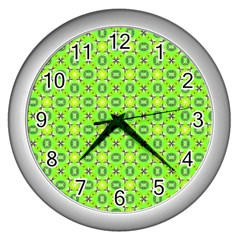Vibrant Abstract Tropical Lime Foliage Lattice Wall Clocks (silver)  by DianeClancy