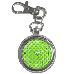 Vibrant Abstract Tropical Lime Foliage Lattice Key Chain Watches by DianeClancy