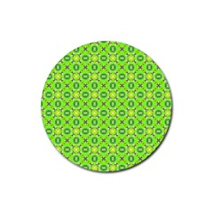 Vibrant Abstract Tropical Lime Foliage Lattice Rubber Coaster (round)  by DianeClancy
