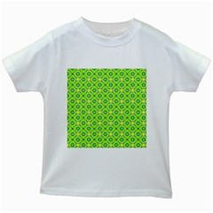 Vibrant Abstract Tropical Lime Foliage Lattice Kids White T Shirts by DianeClancy