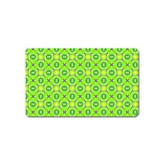 Vibrant Abstract Tropical Lime Foliage Lattice Magnet (name Card) by DianeClancy