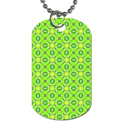 Vibrant Abstract Tropical Lime Foliage Lattice Dog Tag (one Side) by DianeClancy