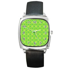 Vibrant Abstract Tropical Lime Foliage Lattice Square Metal Watch by DianeClancy