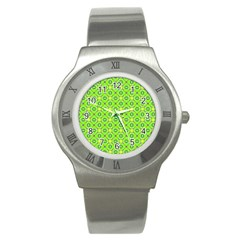 Vibrant Abstract Tropical Lime Foliage Lattice Stainless Steel Watch by DianeClancy
