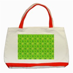 Vibrant Abstract Tropical Lime Foliage Lattice Classic Tote Bag (red) by DianeClancy