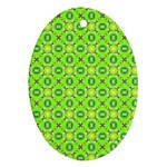 Vibrant Abstract Tropical Lime Foliage Lattice Oval Ornament (Two Sides) Front