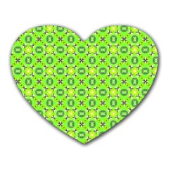 Vibrant Abstract Tropical Lime Foliage Lattice Heart Mousepads by DianeClancy