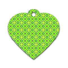Vibrant Abstract Tropical Lime Foliage Lattice Dog Tag Heart (one Side) by DianeClancy