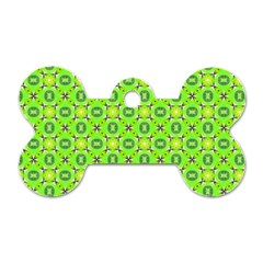 Vibrant Abstract Tropical Lime Foliage Lattice Dog Tag Bone (two Sides) by DianeClancy