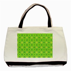 Vibrant Abstract Tropical Lime Foliage Lattice Basic Tote Bag (two Sides) by DianeClancy
