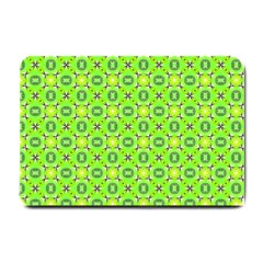 Vibrant Abstract Tropical Lime Foliage Lattice Small Doormat  by DianeClancy