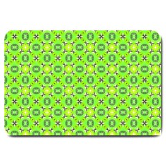 Vibrant Abstract Tropical Lime Foliage Lattice Large Doormat  by DianeClancy