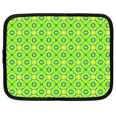 Vibrant Abstract Tropical Lime Foliage Lattice Netbook Case (large) by DianeClancy