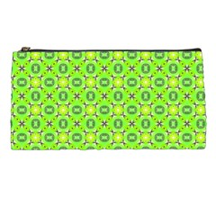 Vibrant Abstract Tropical Lime Foliage Lattice Pencil Cases by DianeClancy