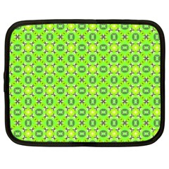 Vibrant Abstract Tropical Lime Foliage Lattice Netbook Case (xl)  by DianeClancy