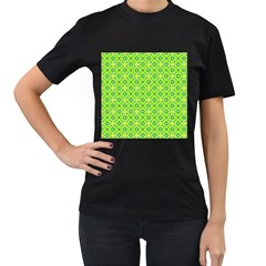 Vibrant Abstract Tropical Lime Foliage Lattice Women s T Shirt (black) by DianeClancy