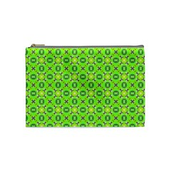 Vibrant Abstract Tropical Lime Foliage Lattice Cosmetic Bag (medium)  by DianeClancy