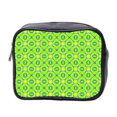 Vibrant Abstract Tropical Lime Foliage Lattice Mini Toiletries Bag 2 Side by DianeClancy
