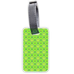 Vibrant Abstract Tropical Lime Foliage Lattice Luggage Tags (one Side)  by DianeClancy