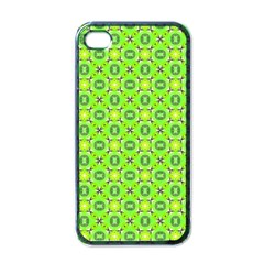 Vibrant Abstract Tropical Lime Foliage Lattice Apple Iphone 4 Case (black) by DianeClancy