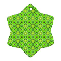 Vibrant Abstract Tropical Lime Foliage Lattice Ornament (snowflake)  by DianeClancy