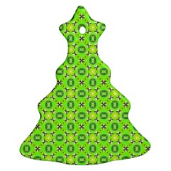 Vibrant Abstract Tropical Lime Foliage Lattice Christmas Tree Ornament (2 Sides) by DianeClancy