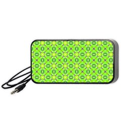 Vibrant Abstract Tropical Lime Foliage Lattice Portable Speaker (black)  by DianeClancy