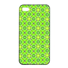 Vibrant Abstract Tropical Lime Foliage Lattice Apple Iphone 4/4s Seamless Case (black) by DianeClancy