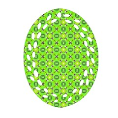 Vibrant Abstract Tropical Lime Foliage Lattice Ornament (oval Filigree)  by DianeClancy