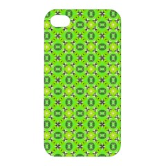 Vibrant Abstract Tropical Lime Foliage Lattice Apple Iphone 4/4s Premium Hardshell Case by DianeClancy