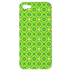 Vibrant Abstract Tropical Lime Foliage Lattice Apple Iphone 5 Hardshell Case by DianeClancy