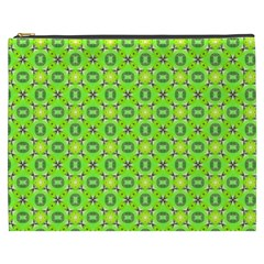 Vibrant Abstract Tropical Lime Foliage Lattice Cosmetic Bag (xxxl)  by DianeClancy