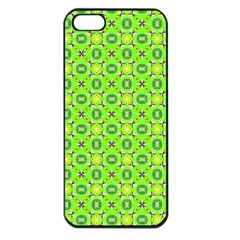Vibrant Abstract Tropical Lime Foliage Lattice Apple Iphone 5 Seamless Case (black) by DianeClancy