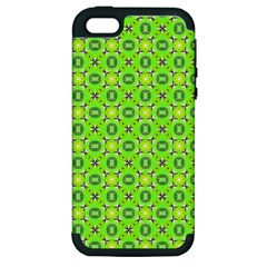 Vibrant Abstract Tropical Lime Foliage Lattice Apple Iphone 5 Hardshell Case (pc+silicone) by DianeClancy