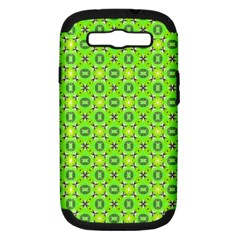 Vibrant Abstract Tropical Lime Foliage Lattice Samsung Galaxy S Iii Hardshell Case (pc+silicone) by DianeClancy