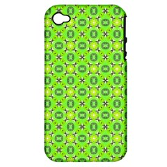 Vibrant Abstract Tropical Lime Foliage Lattice Apple Iphone 4/4s Hardshell Case (pc+silicone) by DianeClancy