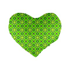 Vibrant Abstract Tropical Lime Foliage Lattice Standard 16  Premium Heart Shape Cushions by DianeClancy