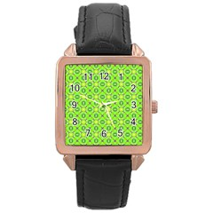 Vibrant Abstract Tropical Lime Foliage Lattice Rose Gold Leather Watch  by DianeClancy
